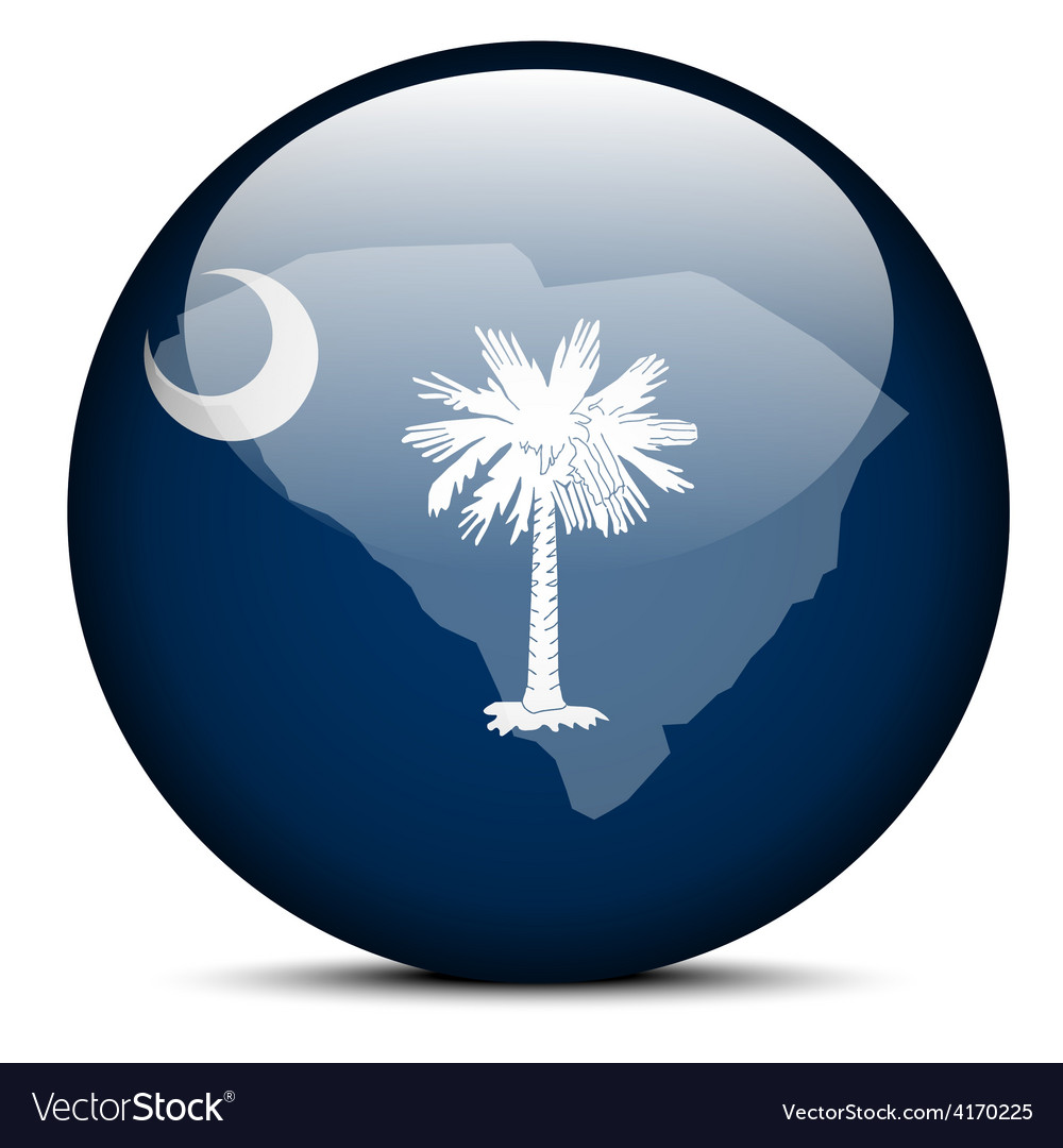 Map on flag button of usa south carolina state vector | Price: 1 Credit (USD $1)