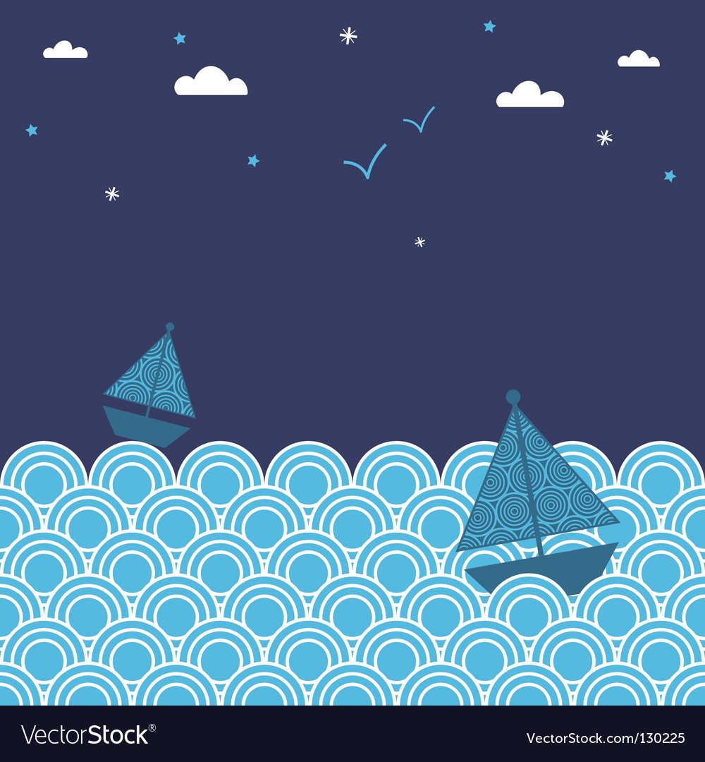 Night boats vector | Price: 1 Credit (USD $1)