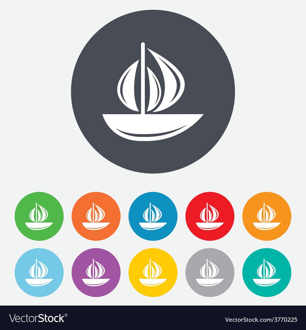 Sail boat icon ship sign vector | Price: 1 Credit (USD $1)