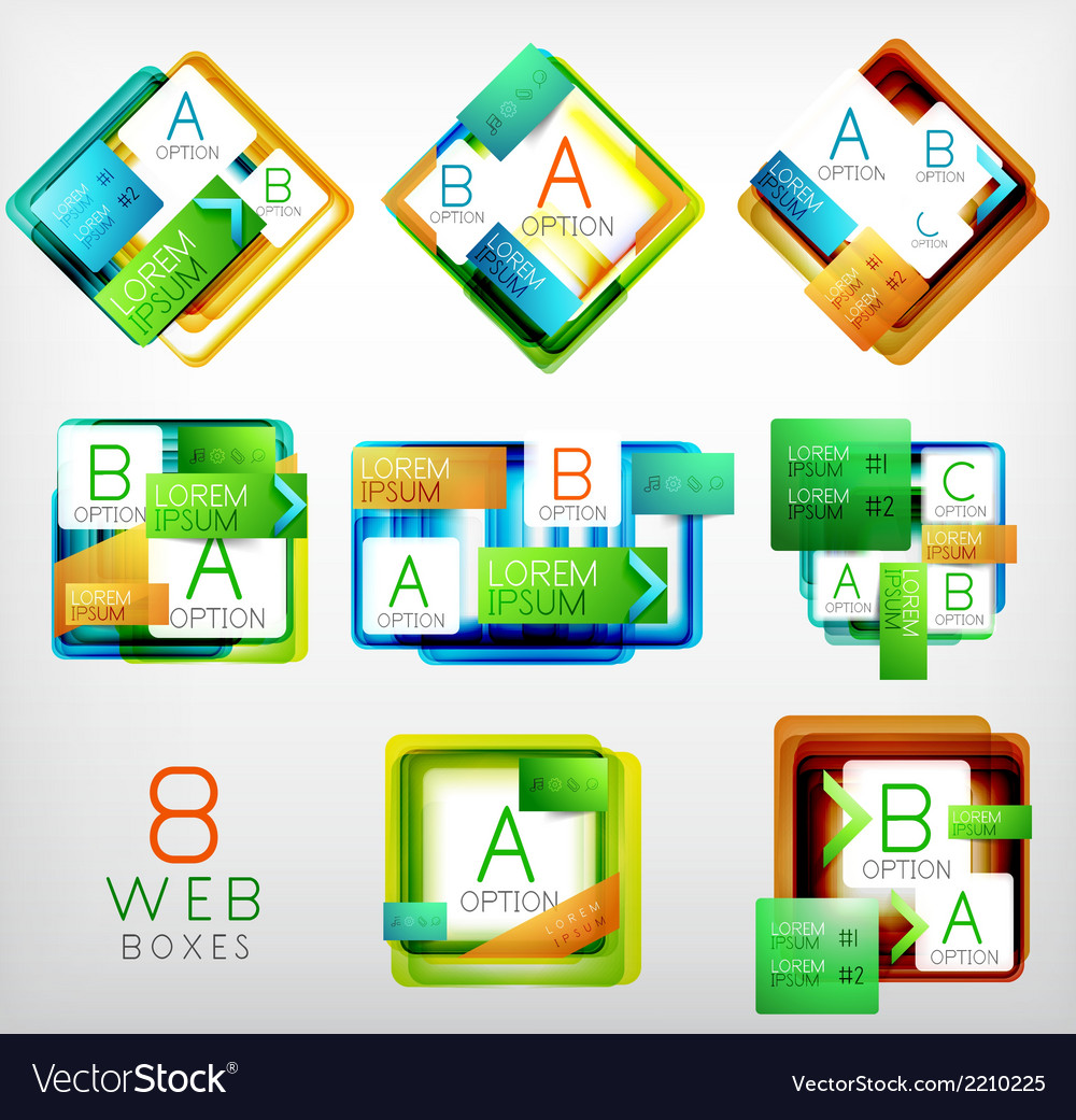 Set of square shaped web design boxes vector | Price: 1 Credit (USD $1)