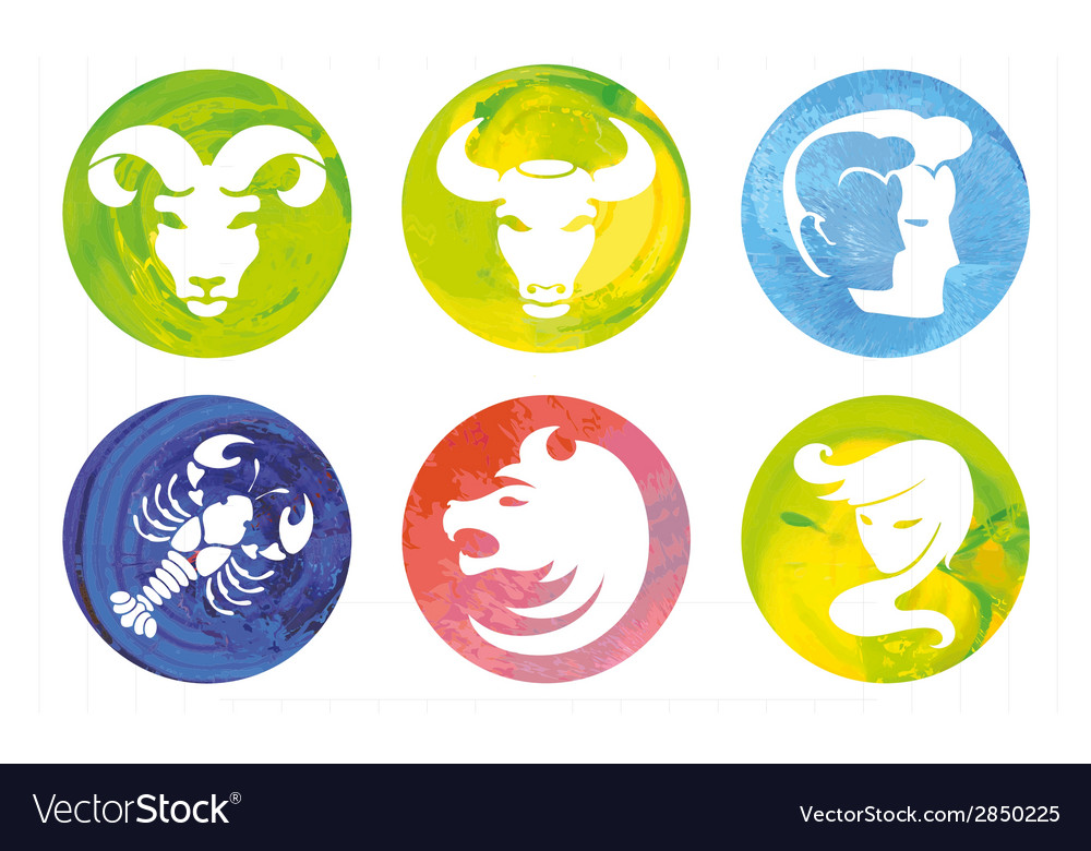 Signs of the zodiac in watercolor circles vector | Price: 1 Credit (USD $1)