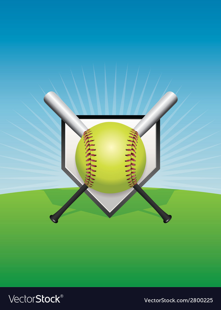 Softball and bats vector | Price: 1 Credit (USD $1)