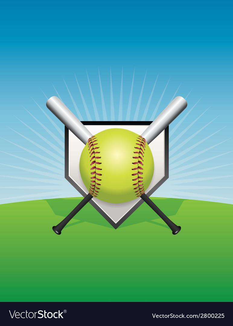 Softball and bats vector | Price: 1 Credit (USD $1)