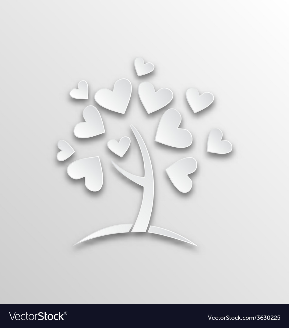 Tree with hearts for valentines day paper cut vector | Price: 1 Credit (USD $1)
