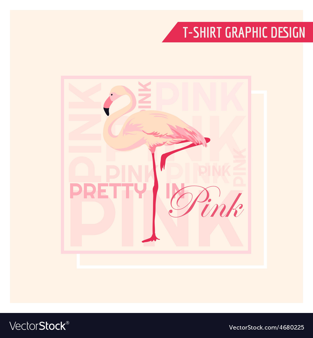 Tropical flamingo graphic design - for t-shirt vector | Price: 1 Credit (USD $1)