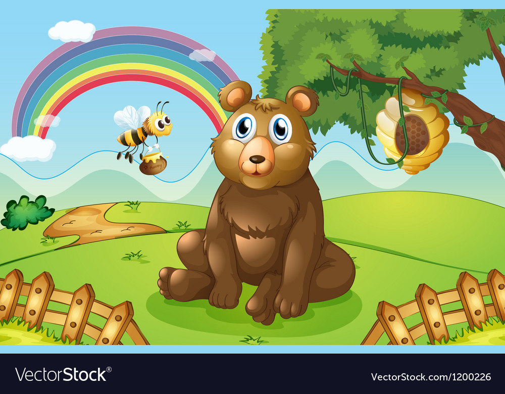 A bear and a bee near a beehive vector | Price: 1 Credit (USD $1)