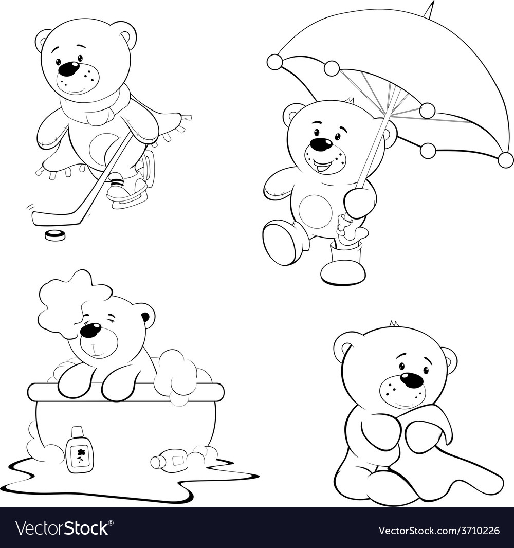 A set of bears coloring book vector | Price: 1 Credit (USD $1)