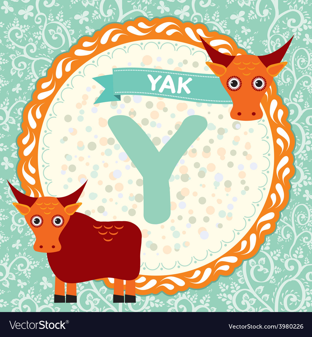 Abc animals y is yak childrens english alphabet vector | Price: 1 Credit (USD $1)