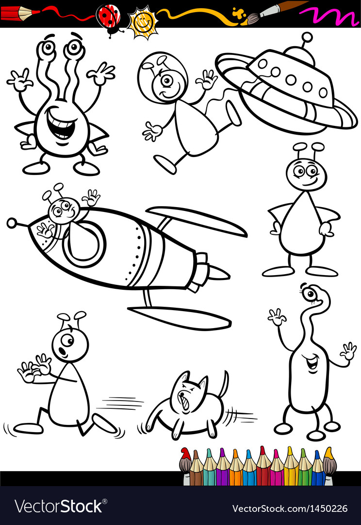 Aliens cartoon set for coloring book vector | Price: 3 Credit (USD $3)