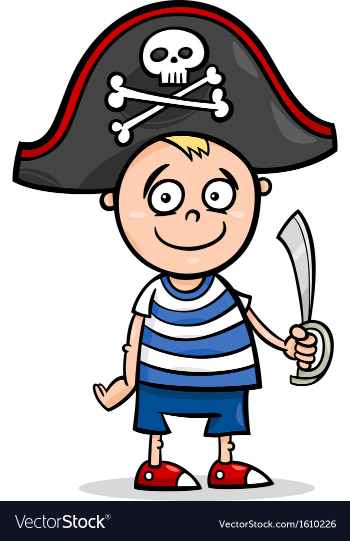 Boy in pirate costume cartoon vector | Price: 1 Credit (USD $1)