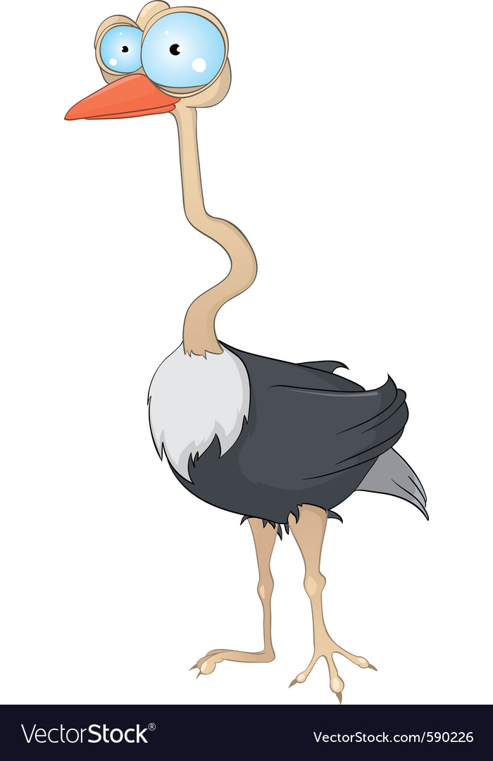 Cartoon character ostrich vector | Price: 3 Credit (USD $3)
