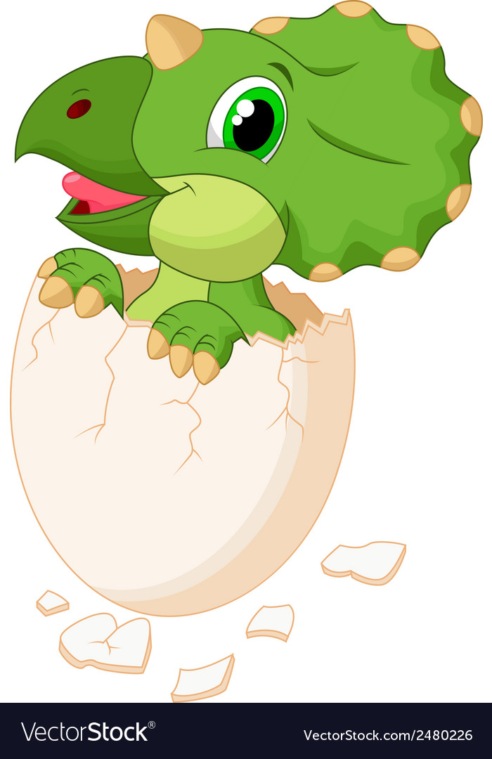 Cute dinosaur cartoon hatching vector | Price: 1 Credit (USD $1)