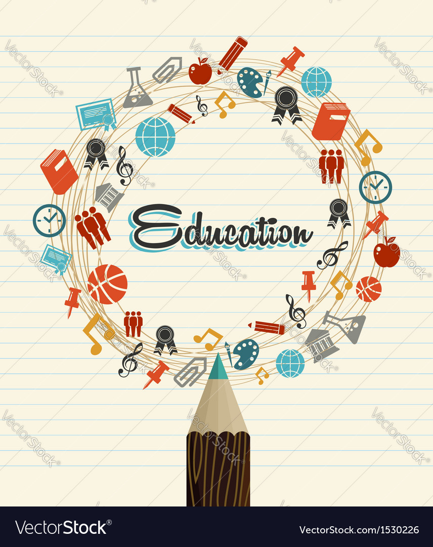 Education global icons back to school pencil vector | Price: 1 Credit (USD $1)