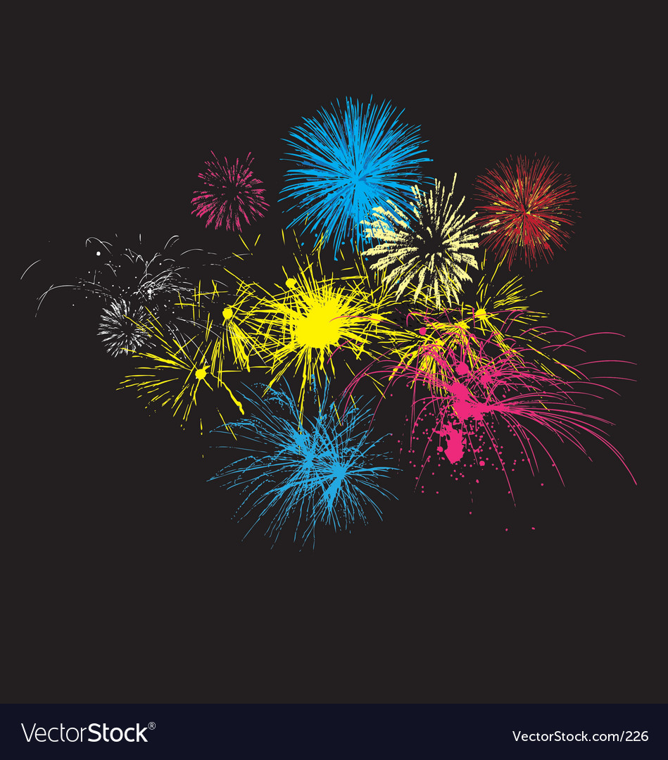 Fireworks on night sky vector | Price: 1 Credit (USD $1)