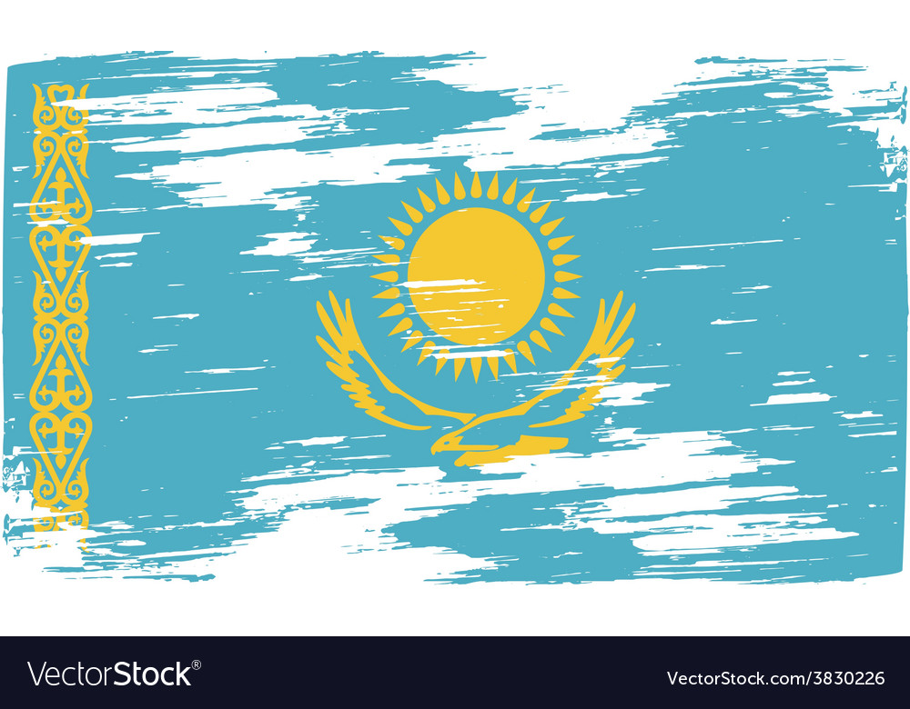 Flag of kazakhstan with old texture vector   Price: 1 Credit (USD $1)