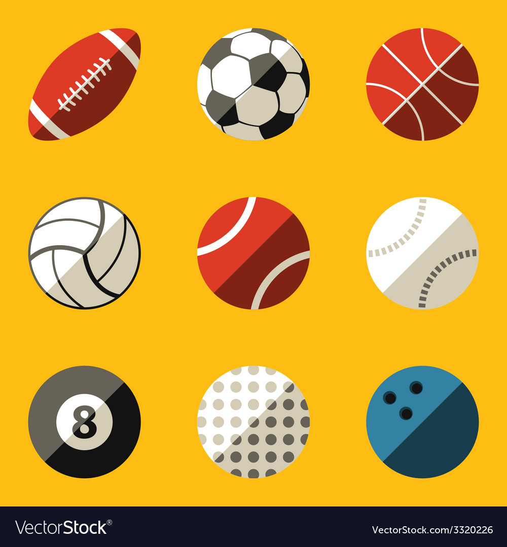 Flat icon set sport ball vector | Price: 1 Credit (USD $1)