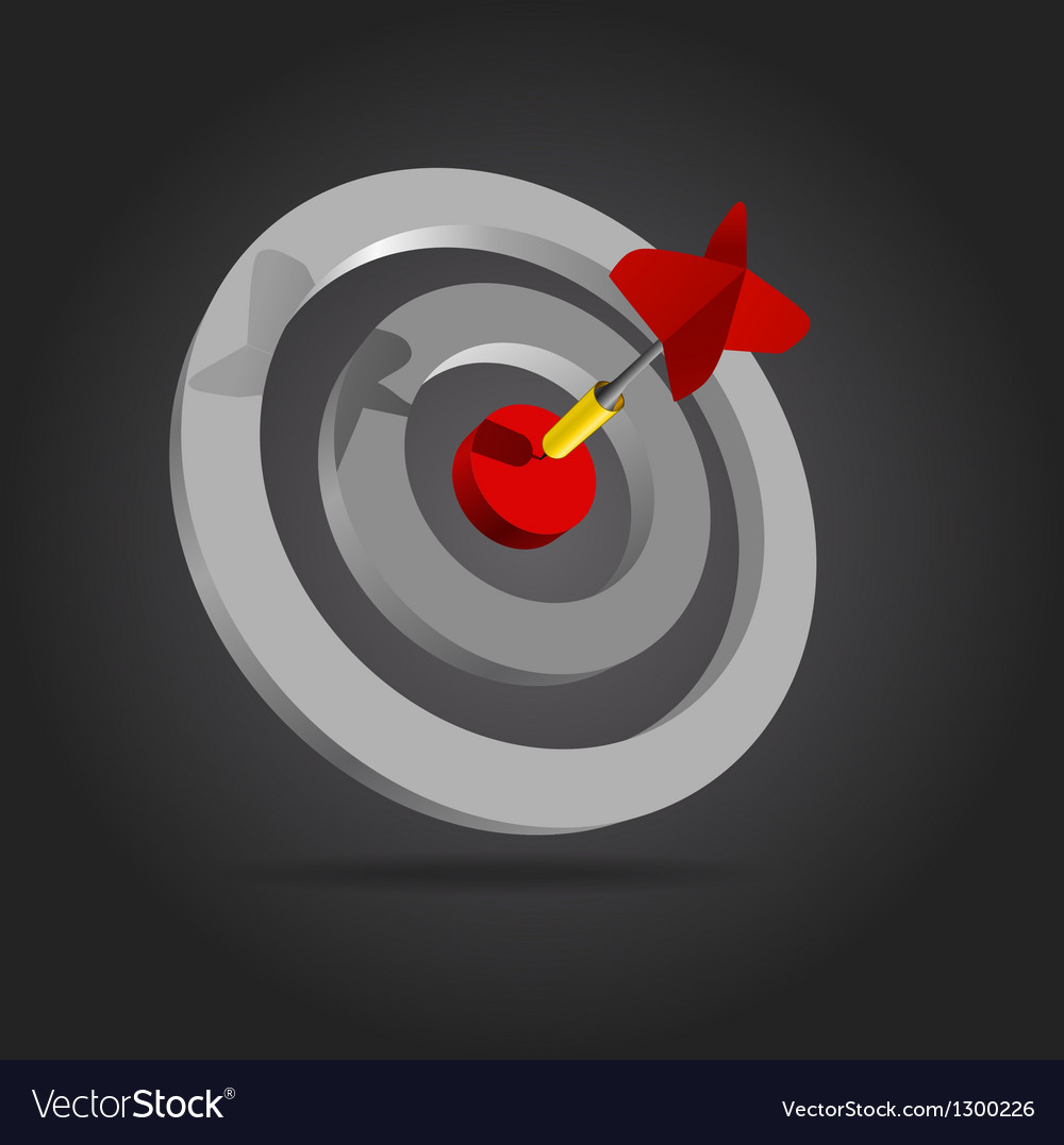 Red dart in the center of the target vector | Price: 1 Credit (USD $1)