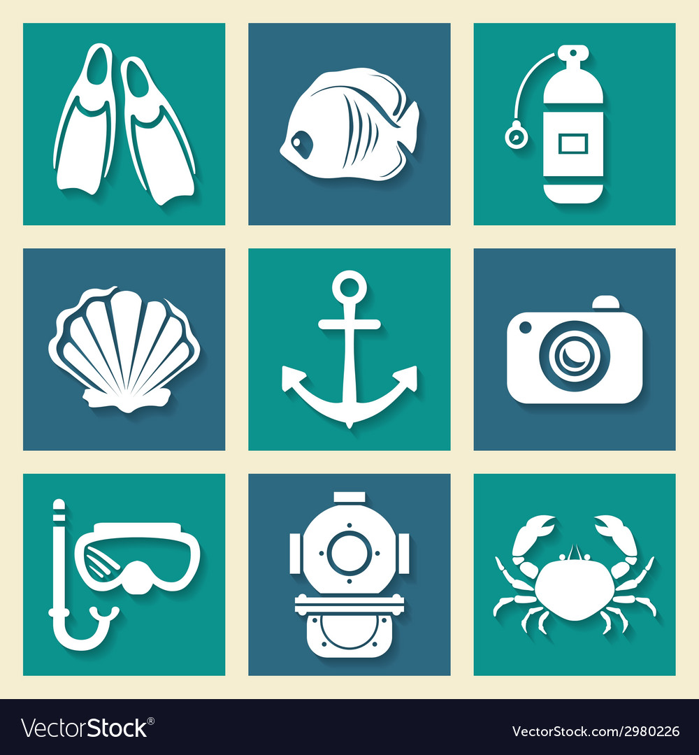 Sea symbols icons et vector | Price: 1 Credit (USD $1)