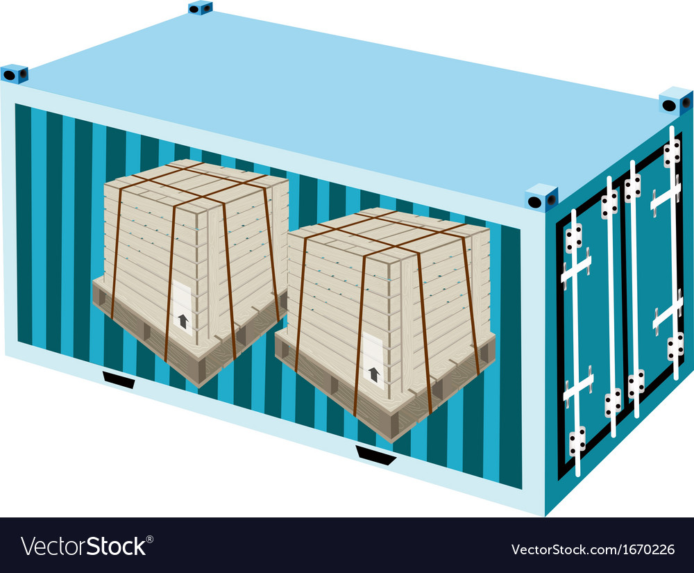 Shipping boxes with steel strapping in container vector | Price: 1 Credit (USD $1)