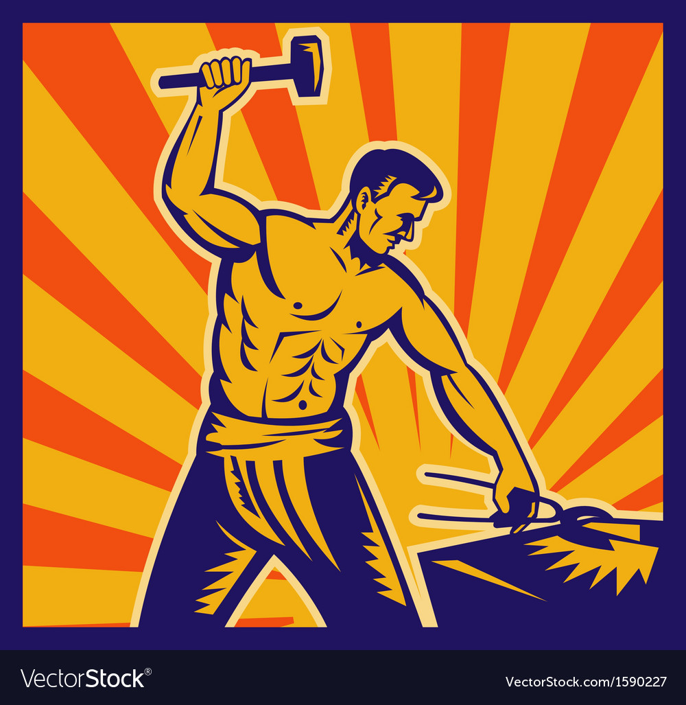 Blacksmith at work wielding a hammer vector | Price: 1 Credit (USD $1)
