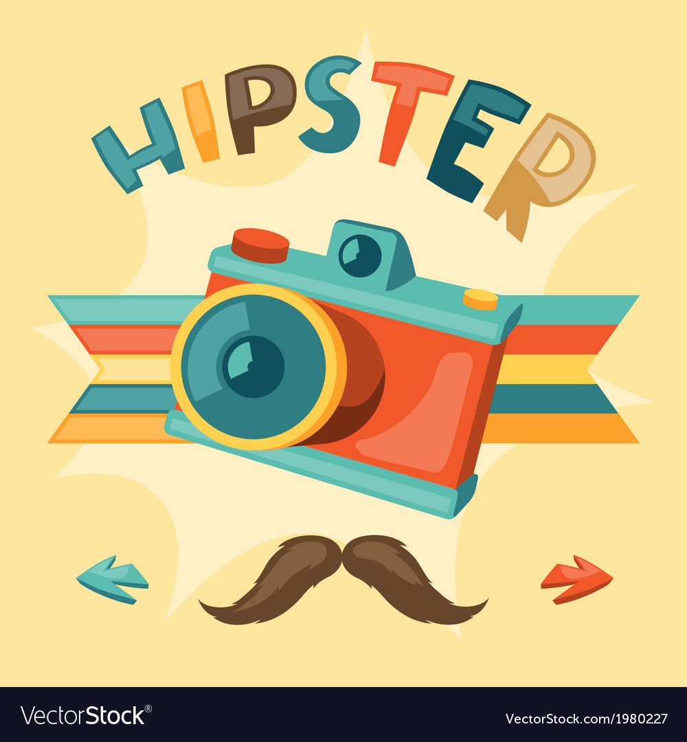 Design with photo camera in hipster style vector | Price: 1 Credit (USD $1)