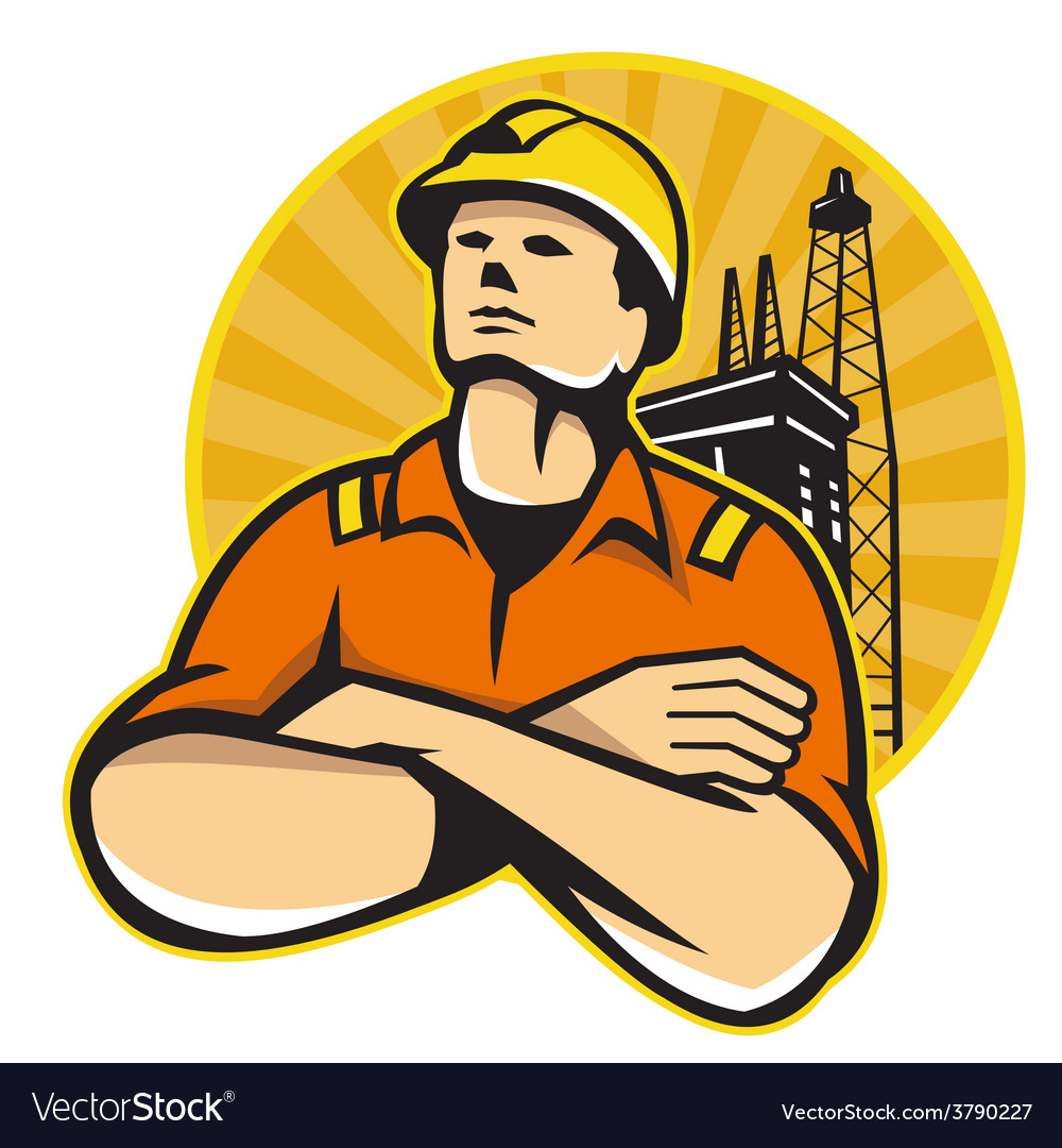 Offshore oil and gas worker rig retro vector | Price: 1 Credit (USD $1)