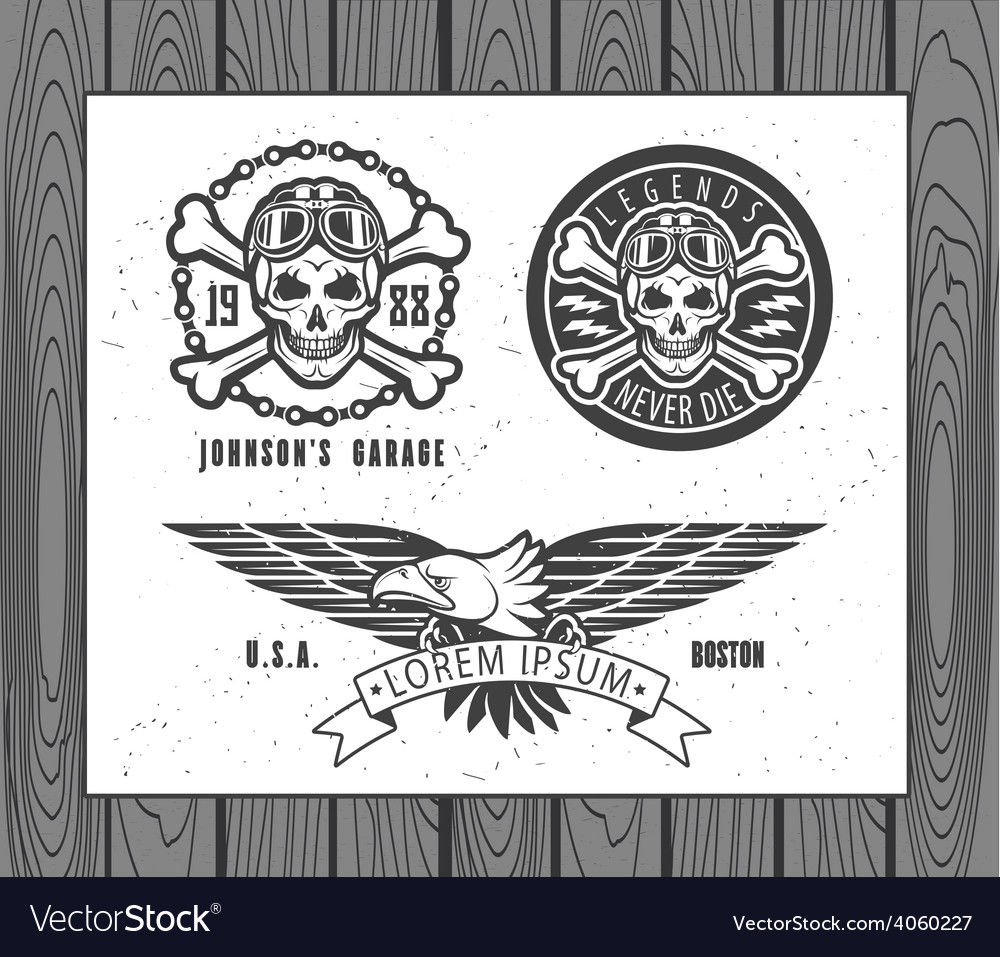 Set of vintage motorcycle labels vector   Price: 1 Credit (USD $1)
