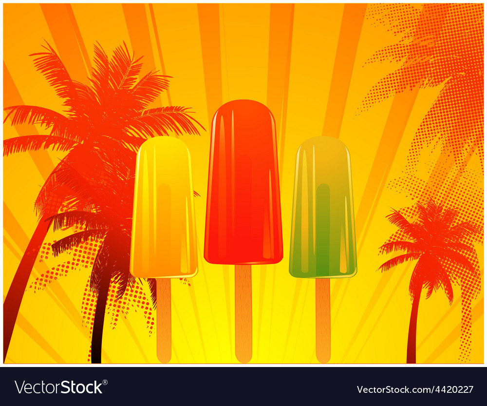 Tropical sunset with ice lolly vector | Price: 1 Credit (USD $1)