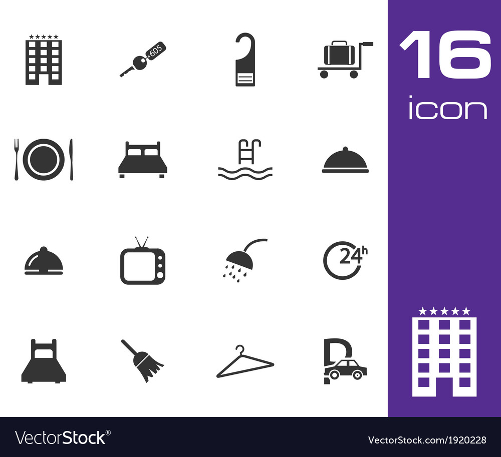 Black hotel icon set on white background vector | Price: 1 Credit (USD $1)