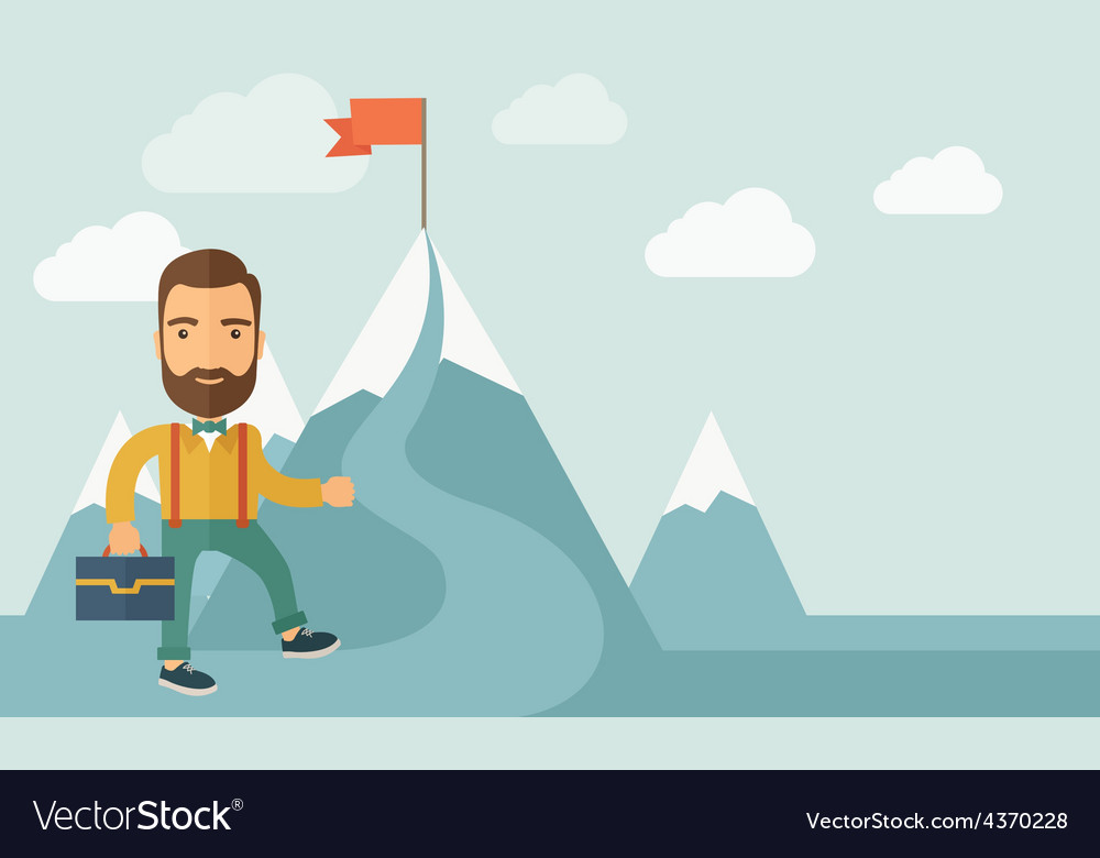 Businessman will climb to achieve success vector