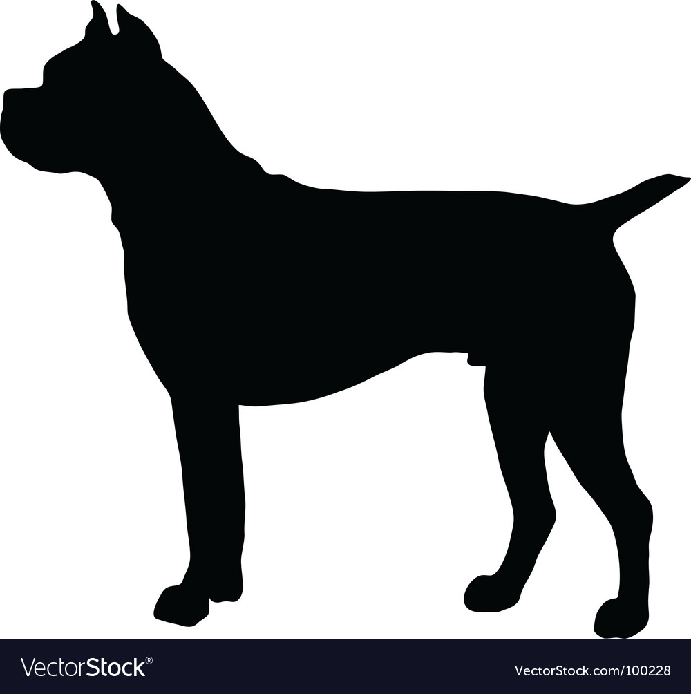 German boxer dog silhouette vector | Price: 1 Credit (USD $1)