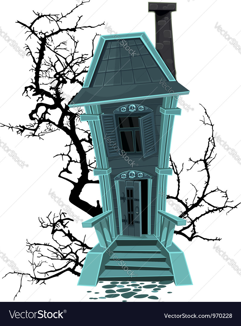 Haunted halloween witch house isolated on white vector   Price: 3 Credit (USD $3)