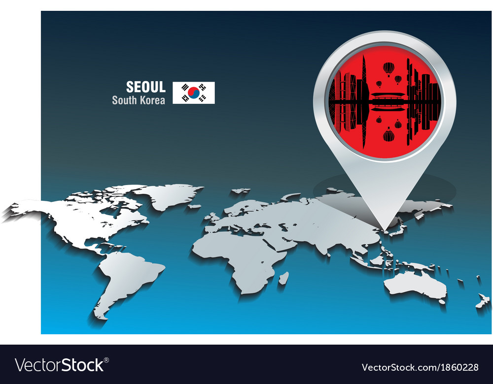 Map pin with seoul skyline vector | Price: 1 Credit (USD $1)