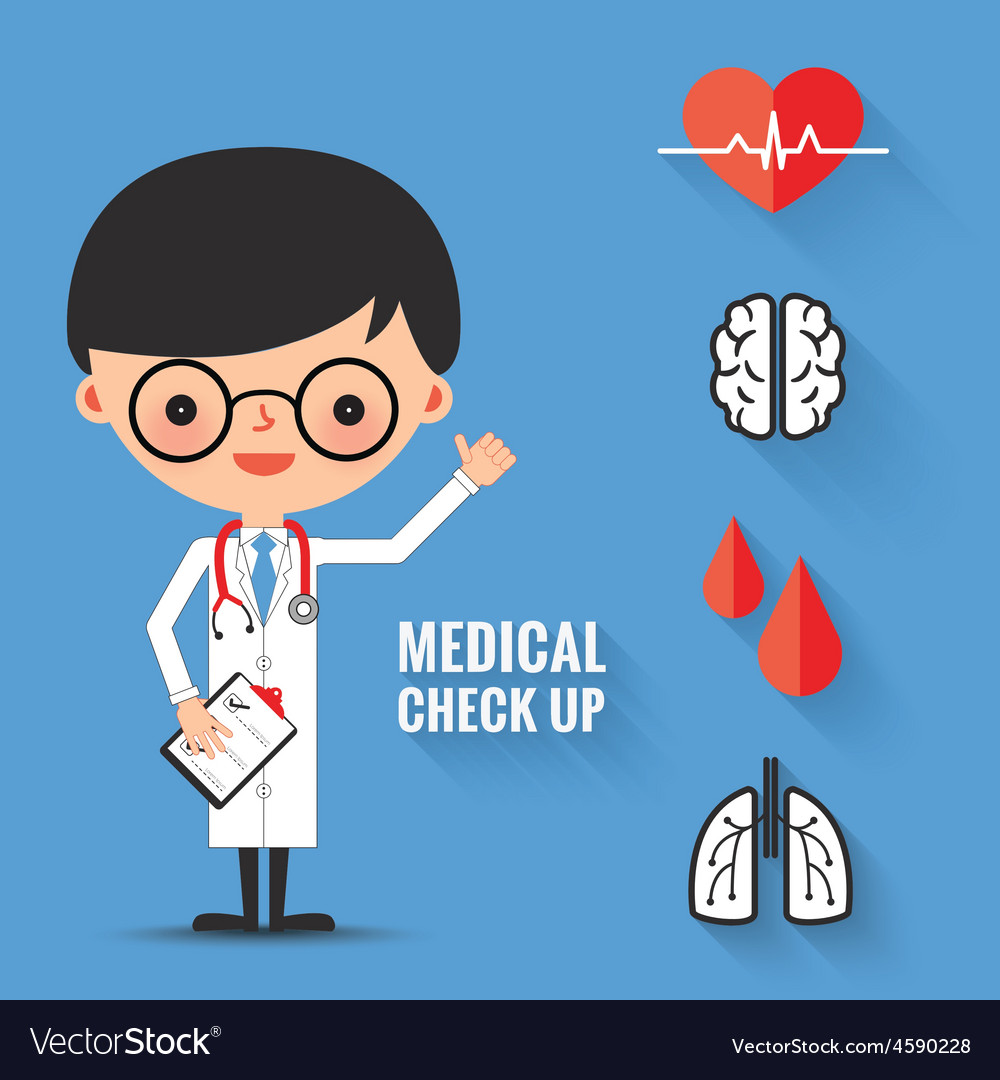 Medical check up with man doctor characters vector | Price: 1 Credit (USD $1)