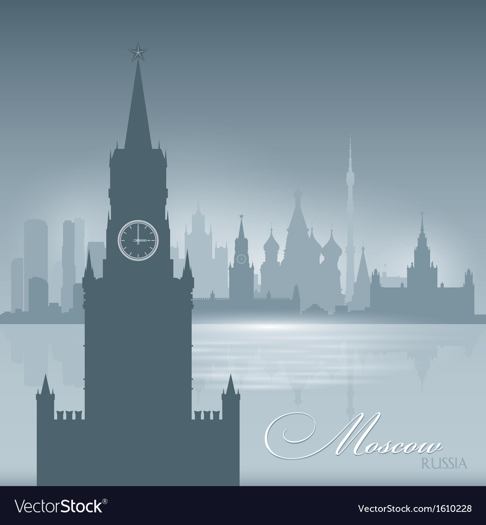 Moscow russia skyline city silhouette background vector | Price: 1 Credit (USD $1)