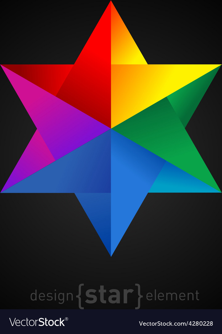 Origami colorful star on black background vector | Price: 1 Credit (USD $1)