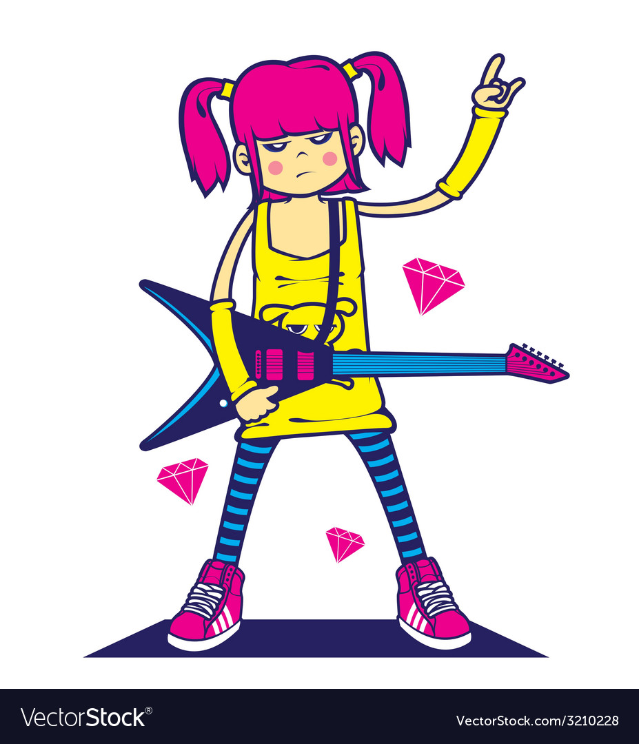 Rockstar girl vector | Price: 1 Credit (USD $1)