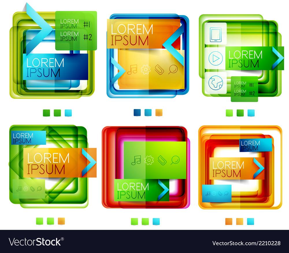 Square web design boxes set vector | Price: 1 Credit (USD $1)