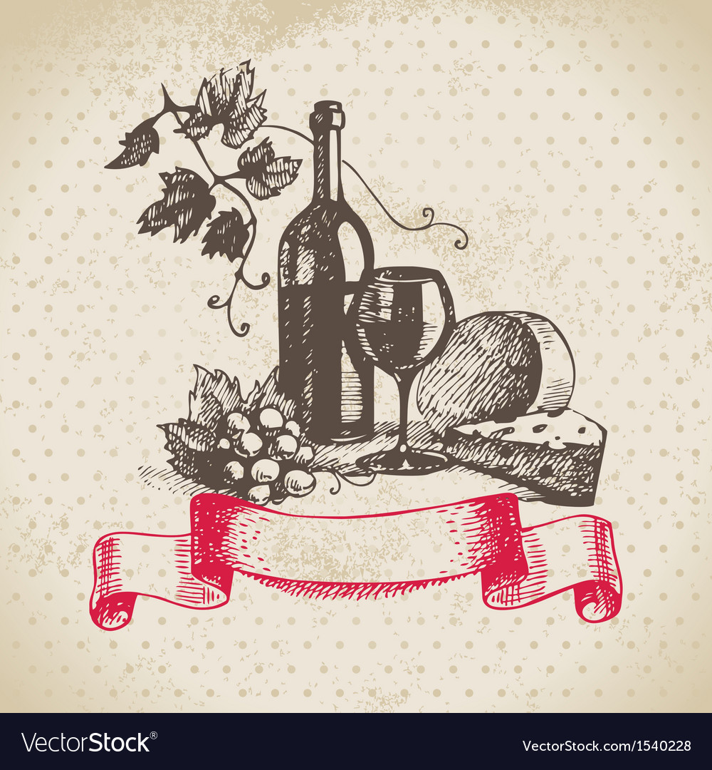Wine vintage background hand drawn vector | Price: 1 Credit (USD $1)