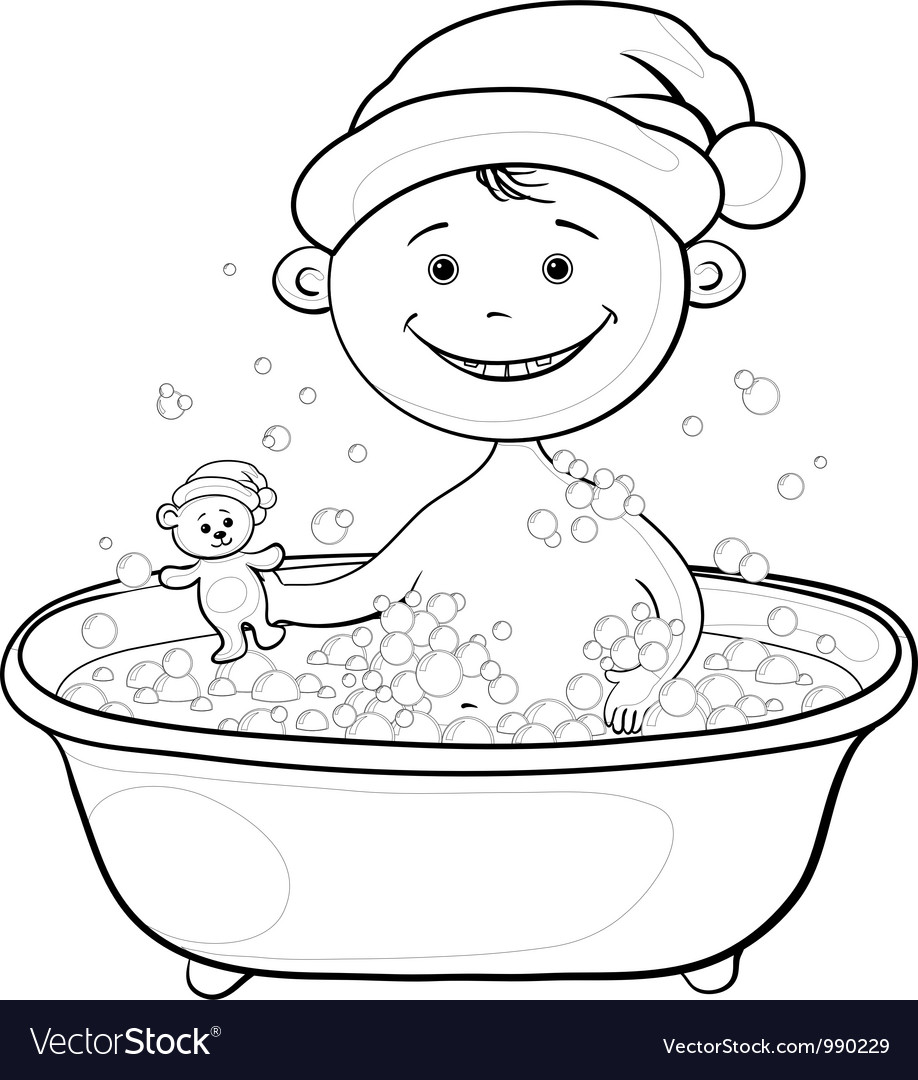Baby santa claus washing in the bath outline vector | Price: 1 Credit (USD $1)