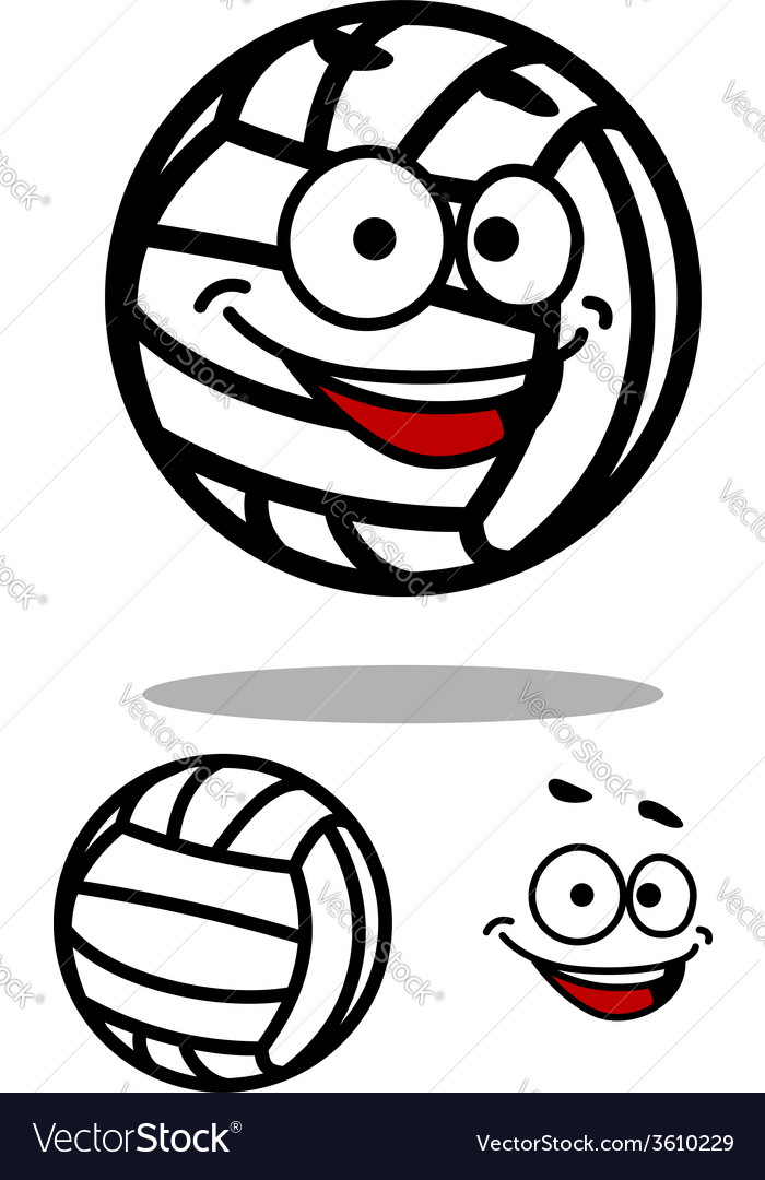 Cartoon white volleyball ball character vector | Price: 1 Credit (USD $1)