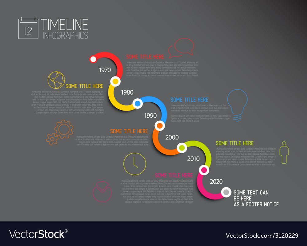 Dark infographic diagonal timeline report template vector | Price: 1 Credit (USD $1)