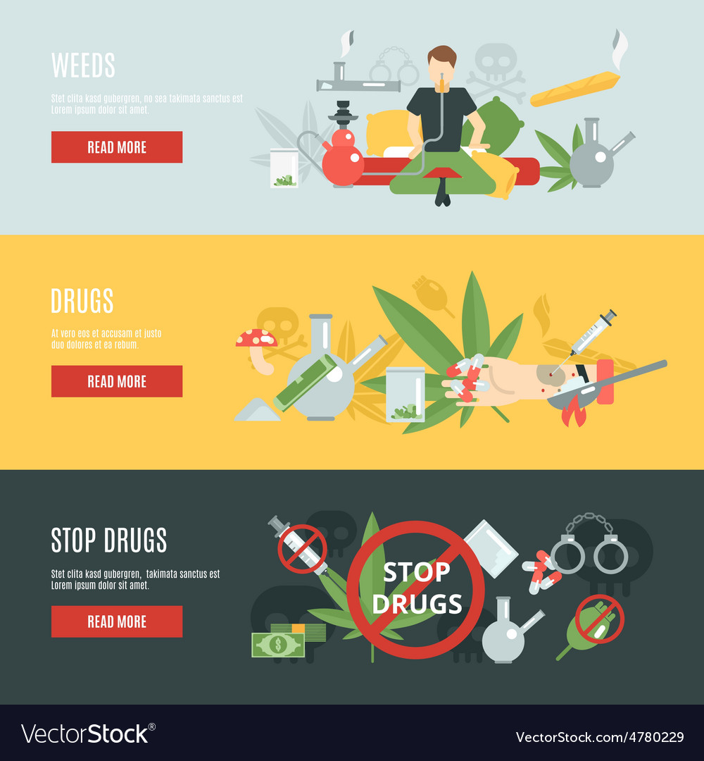 Drugs banner set vector | Price: 3 Credit (USD $3)