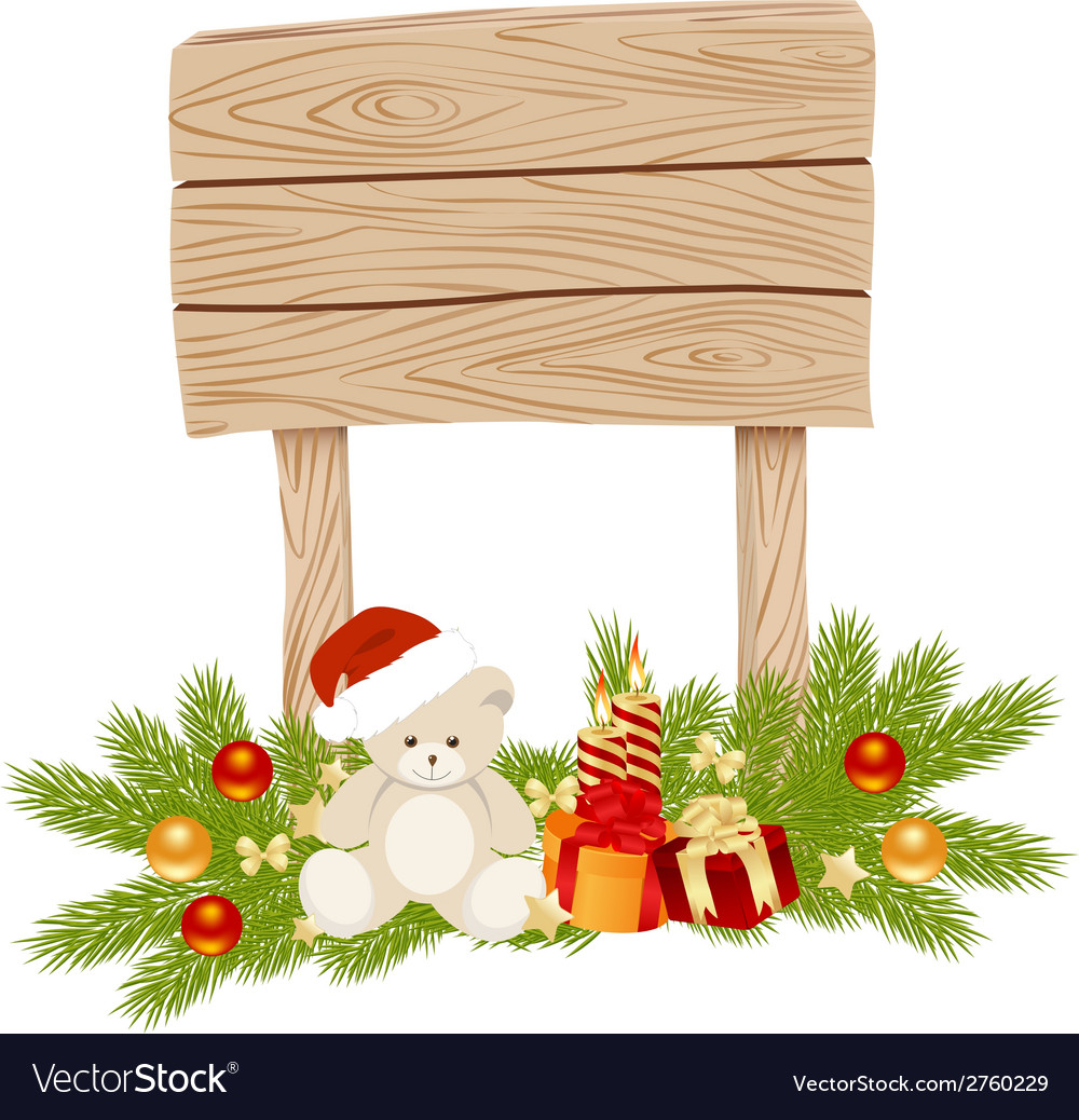 Wooden sign empty christmas 01 vector