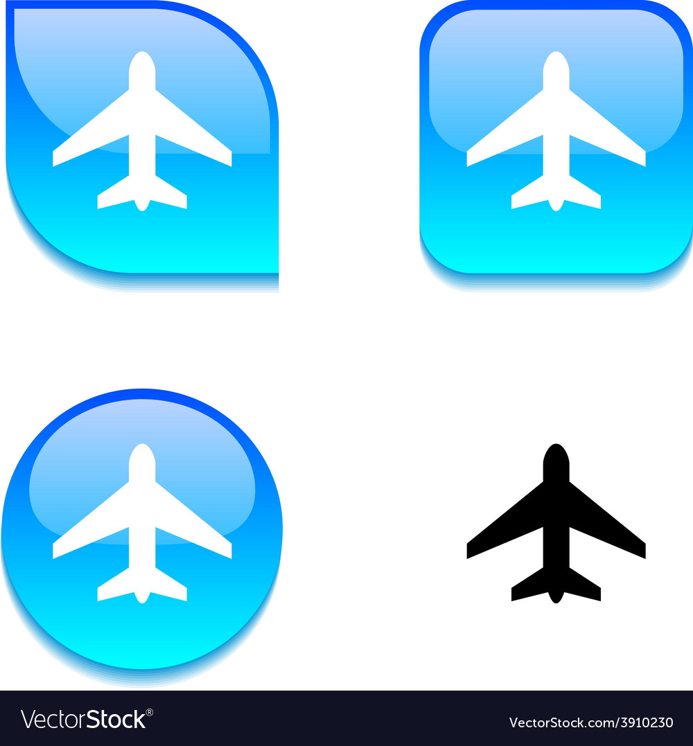 Aircraft glossy button vector | Price: 1 Credit (USD $1)