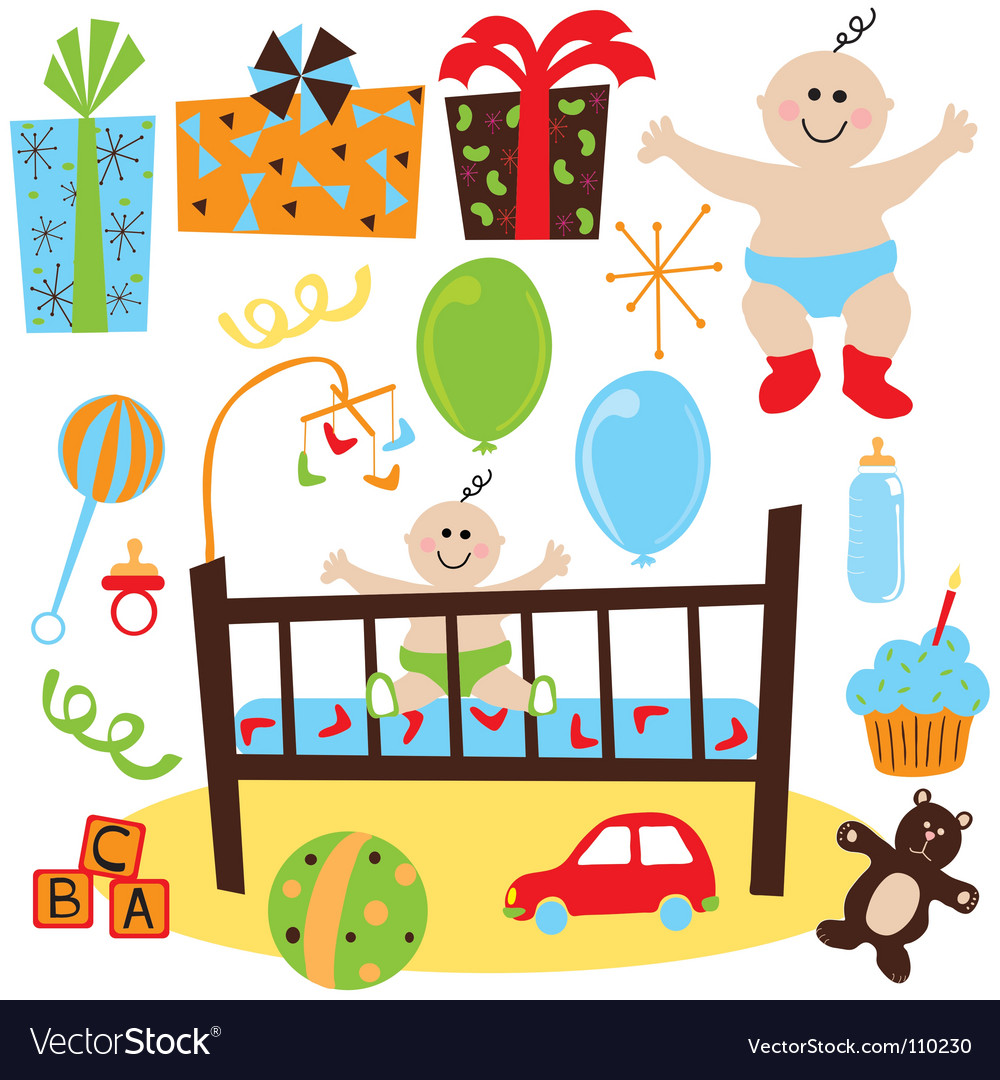 Baby boy retro birthday party vector | Price: 1 Credit (USD $1)