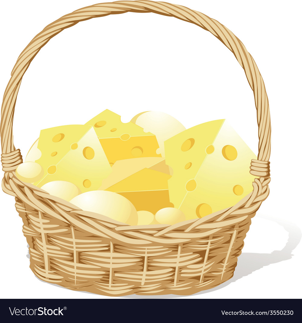 Basket fool of cheese isolated on white background vector | Price: 1 Credit (USD $1)