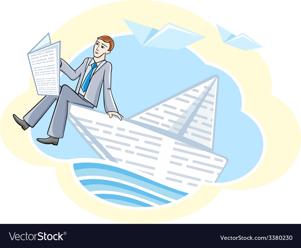 Busines man sitting in boat and sailing on river vector | Price: 1 Credit (USD $1)