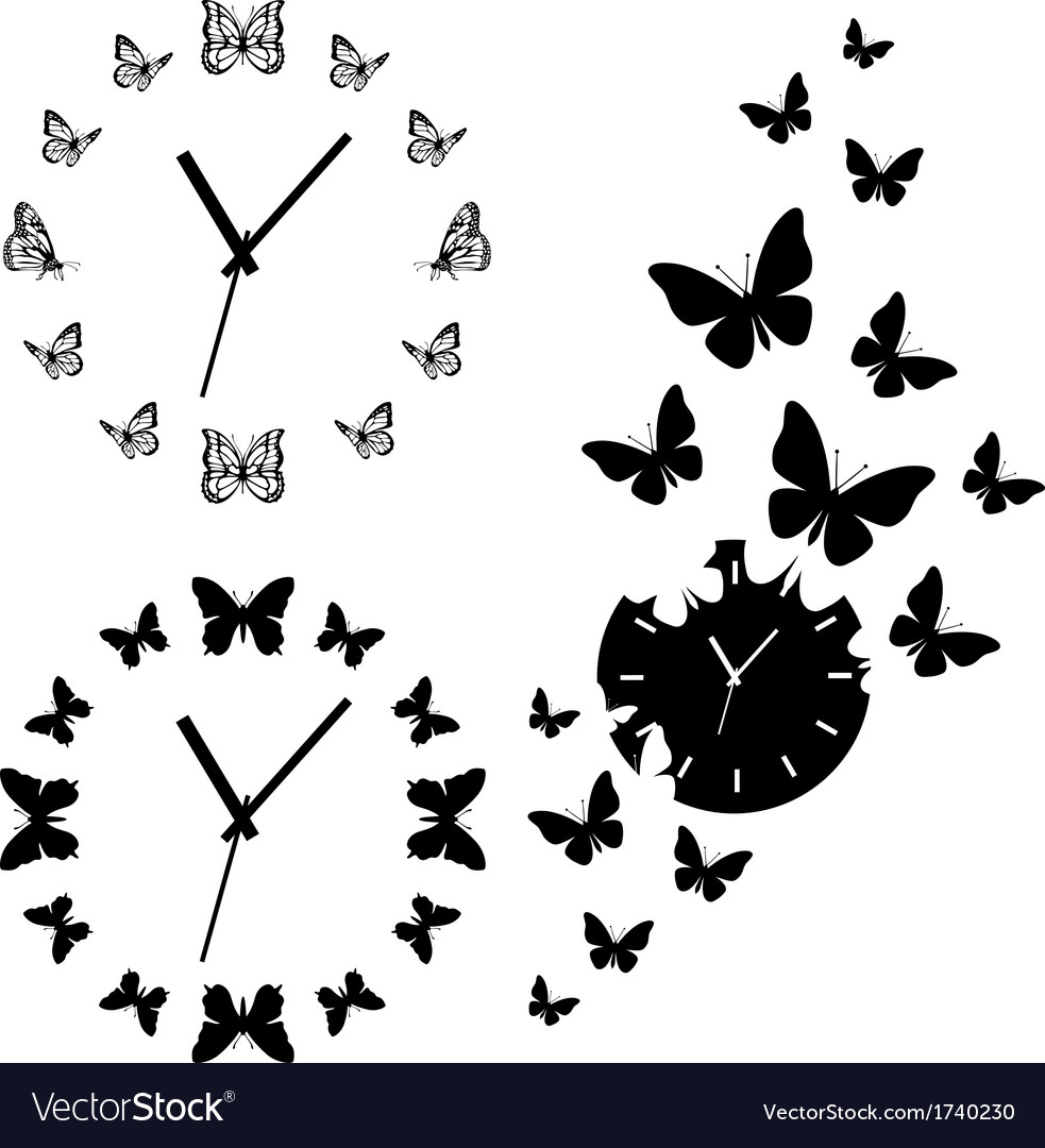 Butterfly clocks set vector | Price: 1 Credit (USD $1)