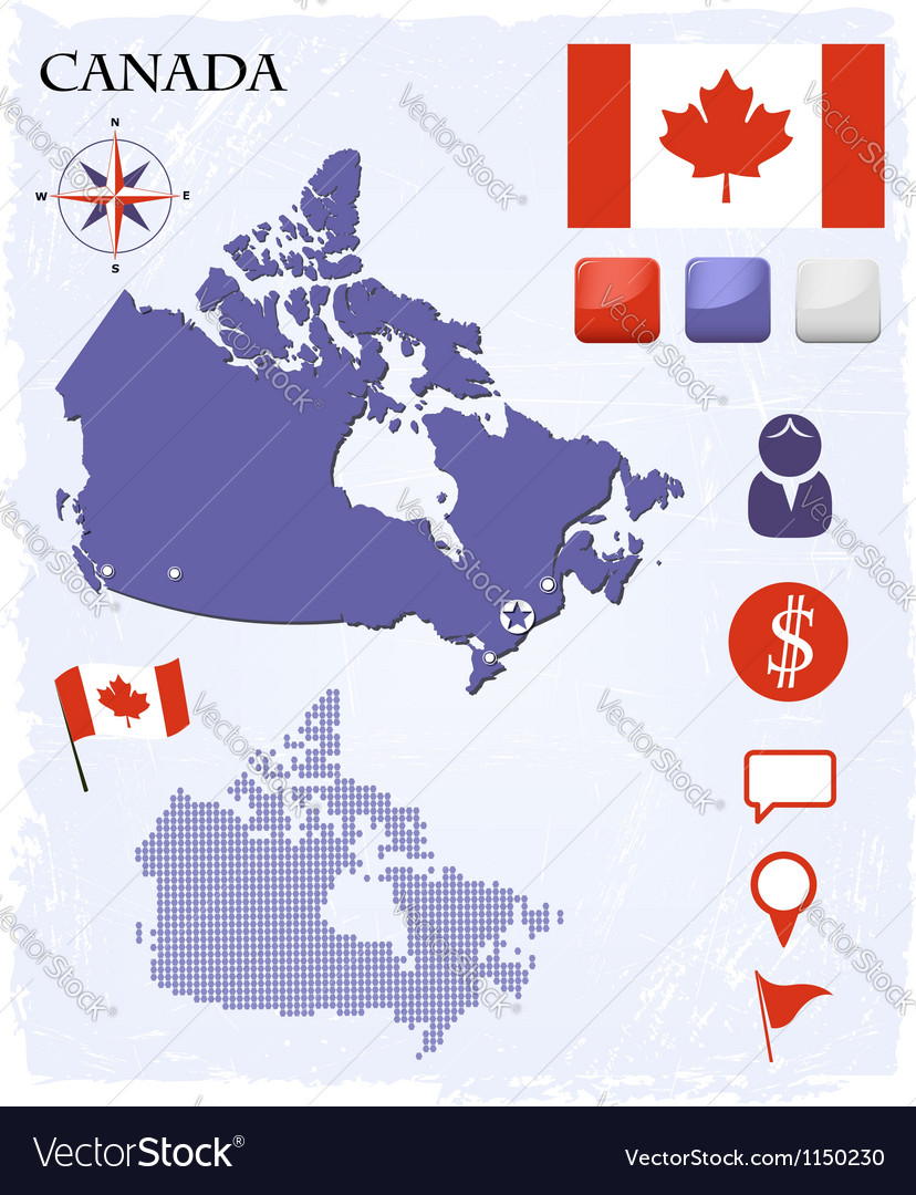 Canada map icons and buttons set vector | Price:  Credit (USD $)